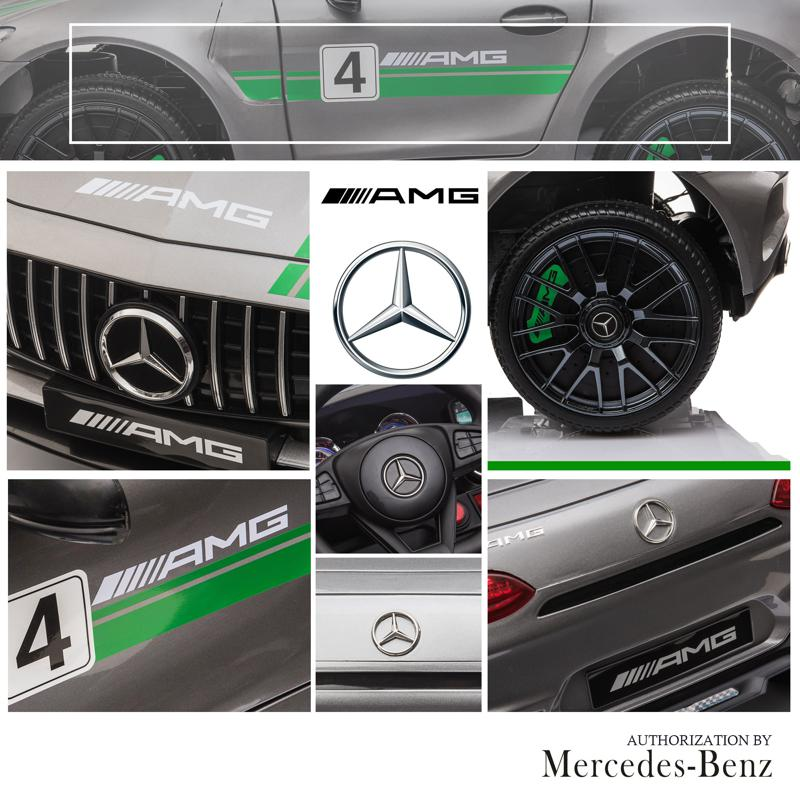 12V Mercedes AMG GT Ride On Car Kids Electric Cars Withe Remote, Silver Grey 12v kids electric car mercedes amg gt ride on toy silver grey 24 1
