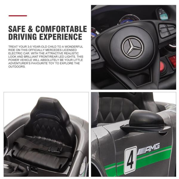 12V Kids Electric Car Mercedes AMG GT Ride On Toy, Silver Grey 12v kids electric car mercedes amg gt ride on toy silver grey 25 1