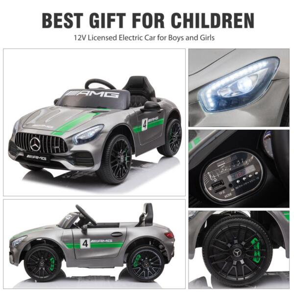 12V Kids Electric Car Mercedes AMG GT Ride On Toy, Silver Grey 12v kids electric car mercedes amg gt ride on toy silver grey 26