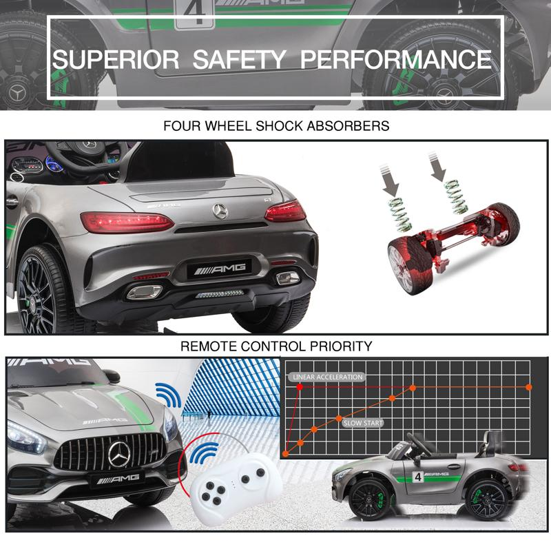 12V Mercedes AMG GT Ride On Car Kids Electric Cars Withe Remote, Silver Grey 12v kids electric car mercedes amg gt ride on toy silver grey 27 2