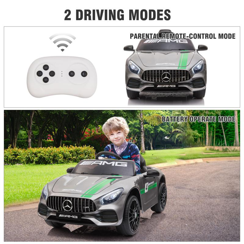 12V Mercedes AMG GT Ride On Car Kids Electric Cars Withe Remote, Silver Grey 12v kids electric car mercedes amg gt ride on toy silver grey 28 2