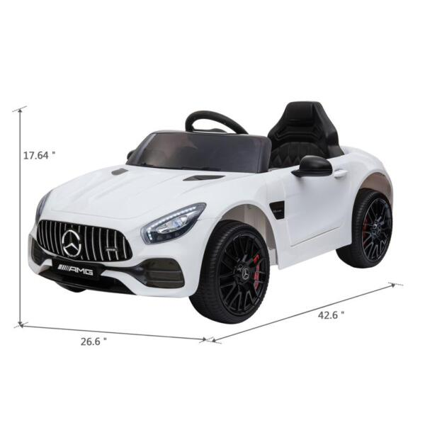 12V Kids Electric Car Mercedes AMG GT Ride On Toy, White 12v kids electric car mercedes amg gt ride on toy white 12