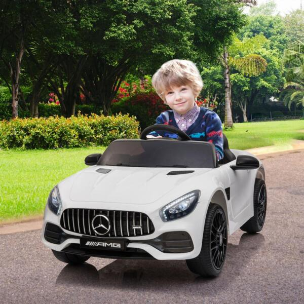 12V Kids Electric Car Mercedes AMG GT Ride On Toy, White 12v kids electric car mercedes amg gt ride on toy white 15