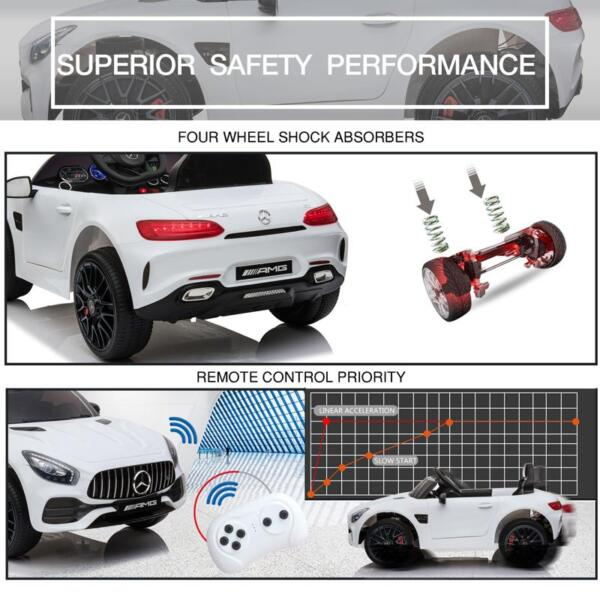 12V Kids Electric Car Mercedes AMG GT Ride On Toy, White 12v kids electric car mercedes amg gt ride on toy white 27 2