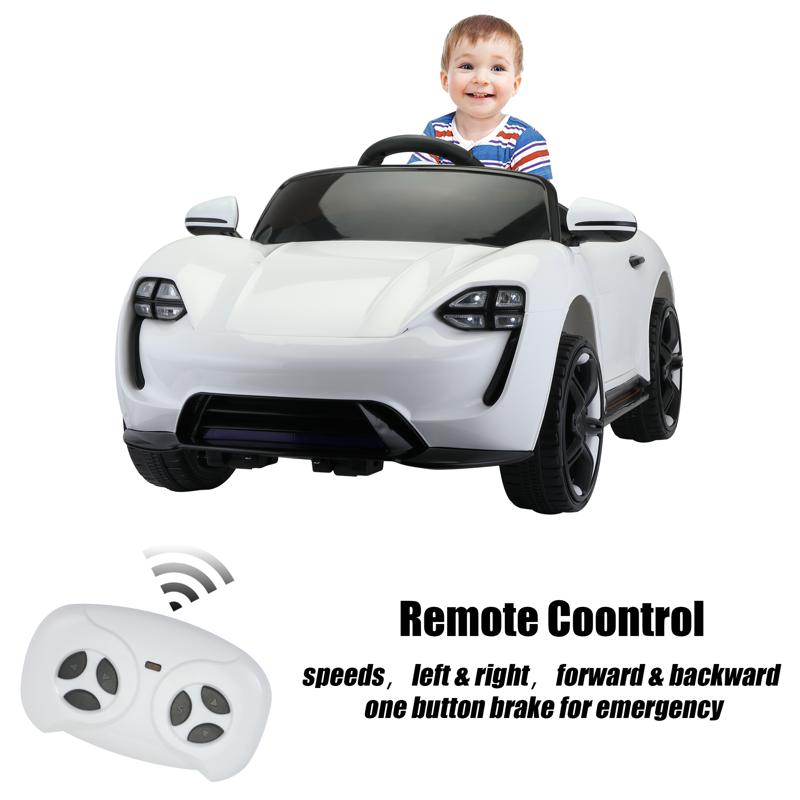 12v Kids Electric Ride On Car with Remote Control, White 12v kids electric ride on car with remote control white 27 1