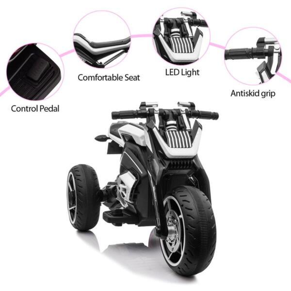 6V Battery Power Ride On Motorcycle for Kids, Black 12v kids police ride on truck white 2 15