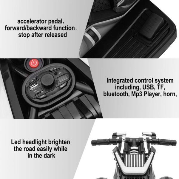 6V Battery Power Ride On Motorcycle for Kids, Black 12v kids police ride on truck white 2 16