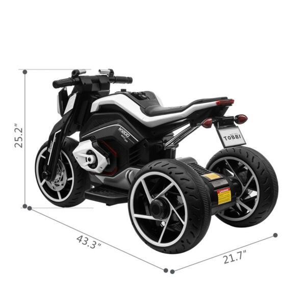 6V Battery Power Ride On Motorcycle for Kids, Black 12v kids police ride on truck white 2 26