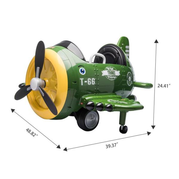 12V Kids Electric Toy Plane Car, Army Green 12v kids ride on airplane army green 11 1