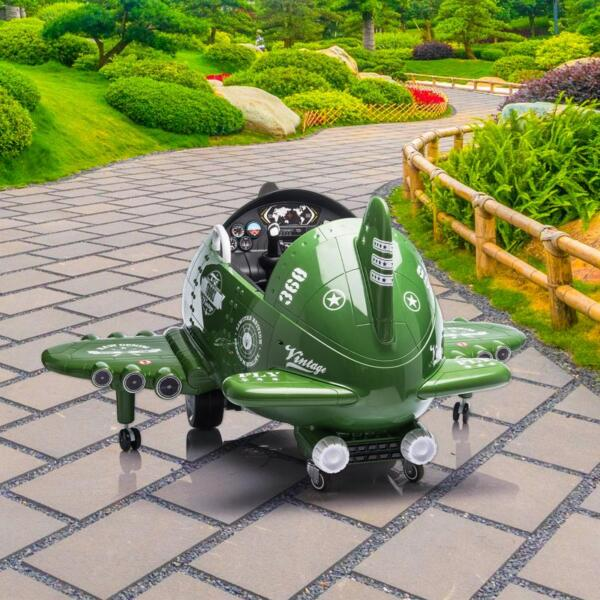 12V Kids Electric Toy Plane Car, Army Green 12v kids ride on airplane army green 14