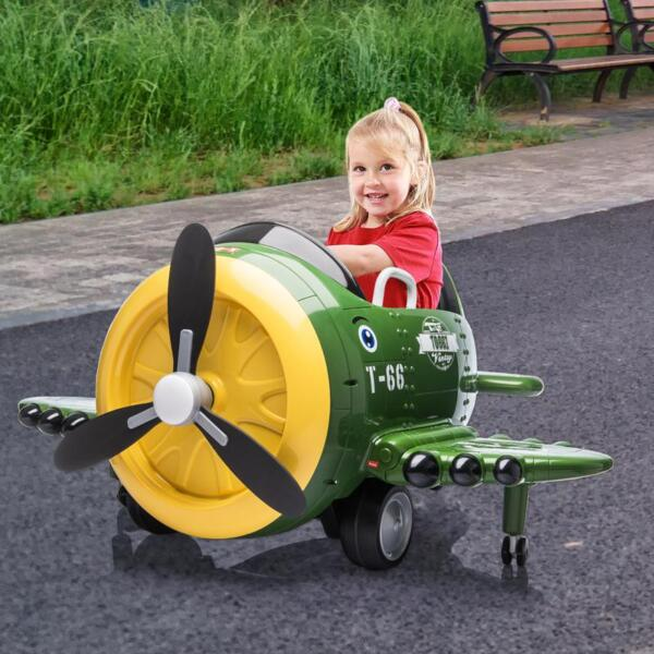 12V Kids Electric Toy Plane Car, Army Green 12v kids ride on airplane army green 17