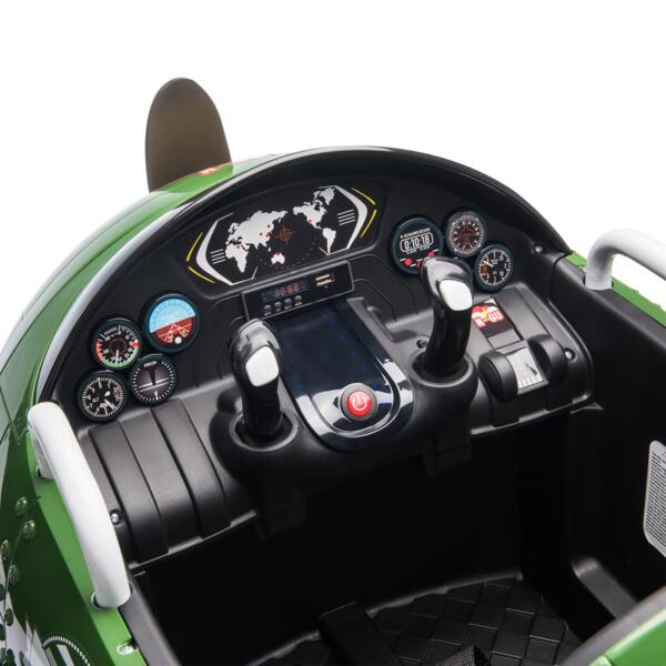 12V Kids Electric Toy Plane Car, Army Green 12v kids ride on airplane army green 23