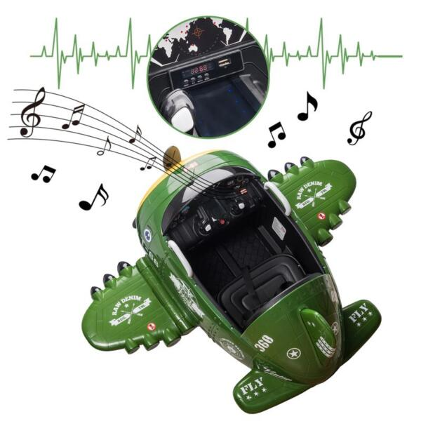 12V Kids Electric Toy Plane Car, Army Green 12v kids ride on airplane army green 34