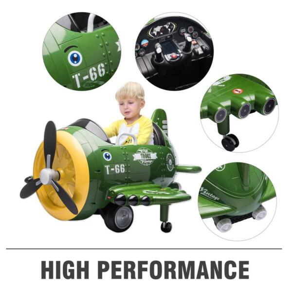 12V Kids Electric Toy Plane Car, Army Green 12v kids ride on airplane army green 37