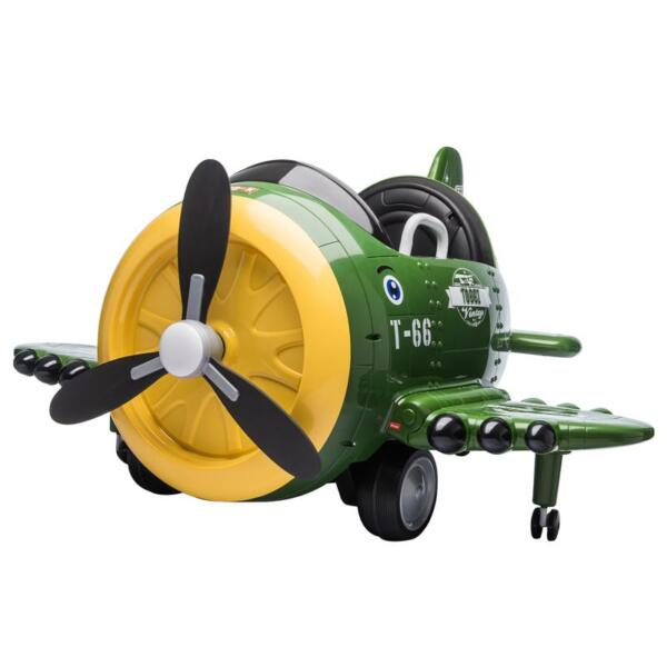 12V Kids Electric Toy Plane Car, Army Green 12v kids ride on airplane army green 4 1