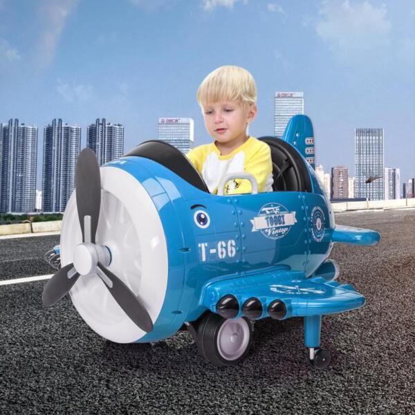 12V Kids Electric Toy Plane Car, Blue 12v kids ride on airplane blue 11