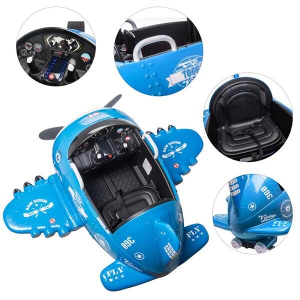 12V Kids Electric Toy Plane Car, Blue 12v kids ride on airplane blue 26