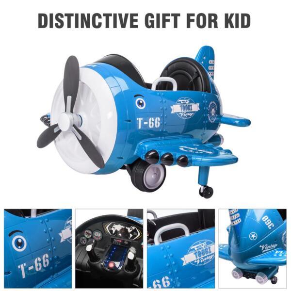 12V Kids Electric Toy Plane Car, Blue 12v kids ride on airplane blue 27 1