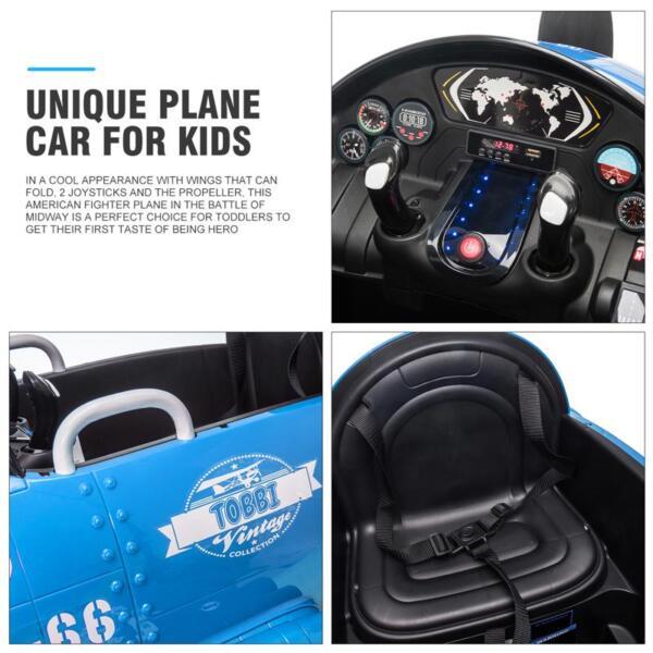 12V Kids Electric Toy Plane Car, Blue 12v kids ride on airplane blue 29 1