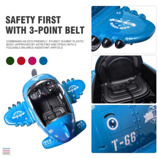 12V Kids Electric Toy Plane Car, Blue 12v kids ride on airplane blue 30 1