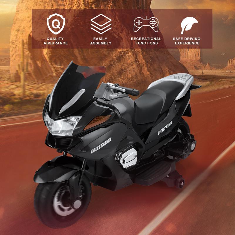 12V Electric Motorcycle for kids, Black 12v kids ride on motorcycle battery powered bike black 15 1