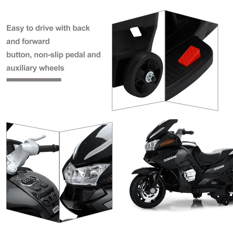 12V Electric Motorcycle for kids, Black 12v kids ride on motorcycle battery powered bike black 16 1