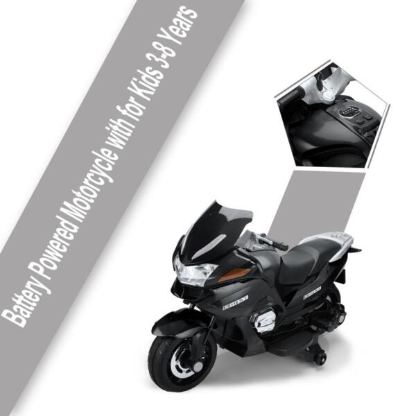 12V Electric Motorcycle for kids, Black 12v kids ride on motorcycle battery powered bike black 18