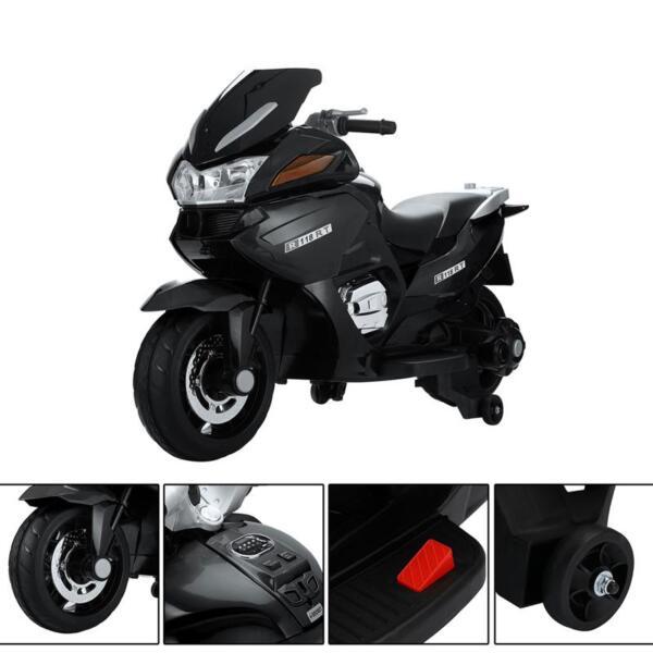 12V Electric Motorcycle for kids, Black 12v kids ride on motorcycle battery powered bike black 19