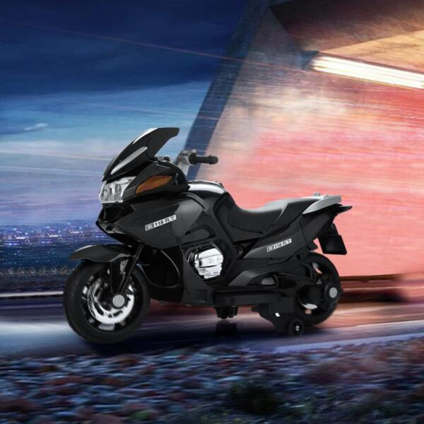 12V Electric Motorcycle for kids, Black 12v kids ride on motorcycle battery powered bike black 20 1