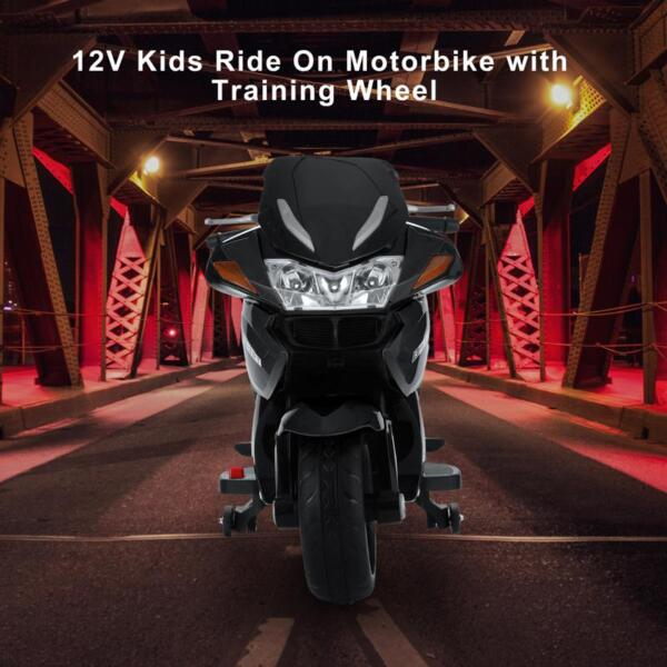 12V Electric Motorcycle for kids, Black 12v kids ride on motorcycle battery powered bike black 24