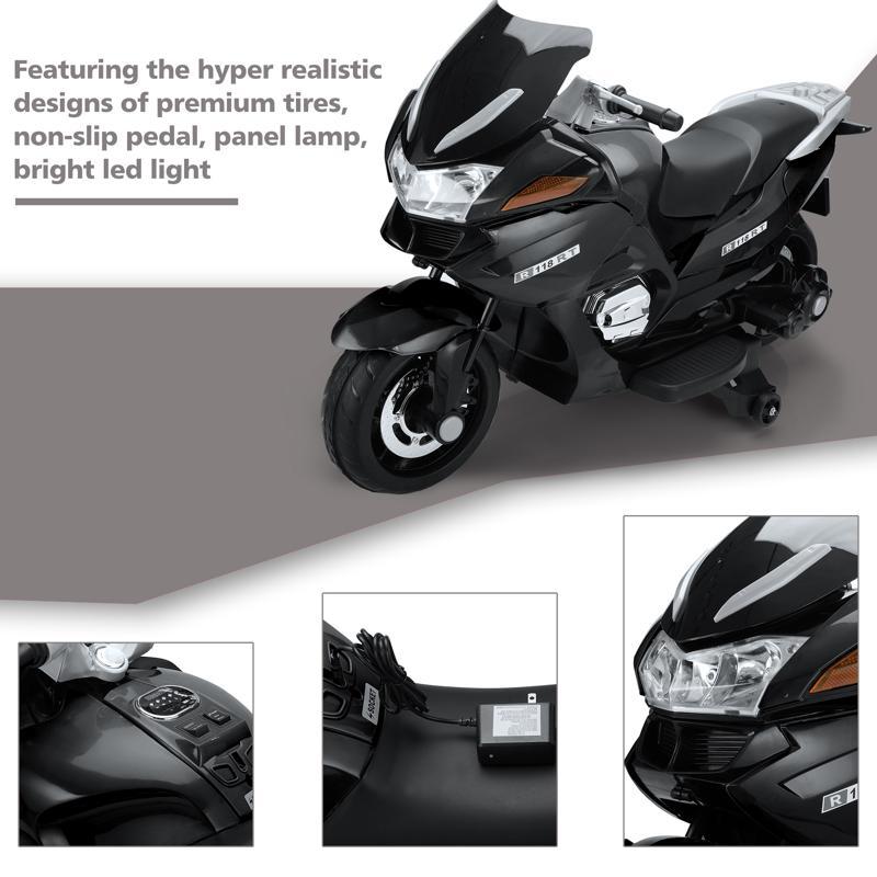 12V Electric Motorcycle for kids, Black 12v kids ride on motorcycle battery powered bike black 25 2