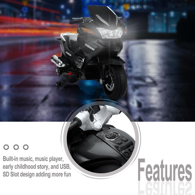 12V Electric Motorcycle for kids, Black 12v kids ride on motorcycle battery powered bike black 27 1