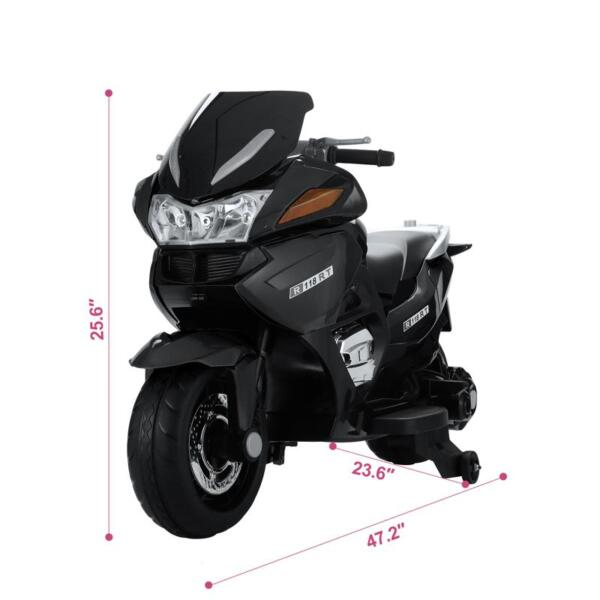 12V Electric Motorcycle for kids, Black 12v kids ride on motorcycle battery powered bike black 8