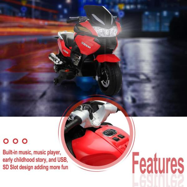 12V Kids Battery Motorcycle for 8 Year Old 12v kids ride on motorcycle battery powered bike red 18