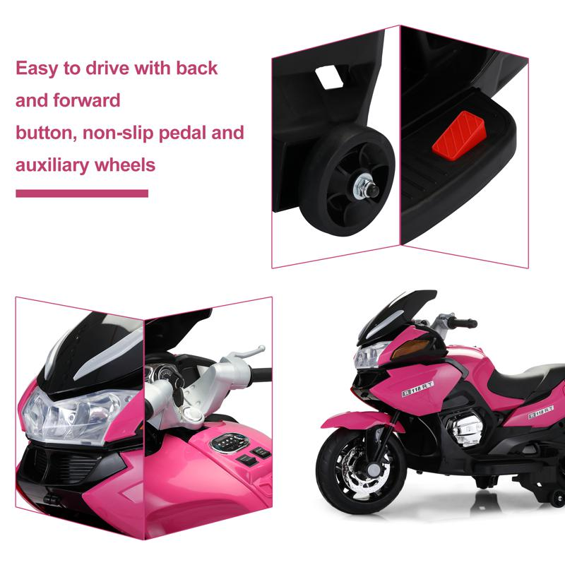 12V Ride On Children's Electric Motorcycle for Toddler 12v kids ride on motorcycle battery powered bike rose red 16 1