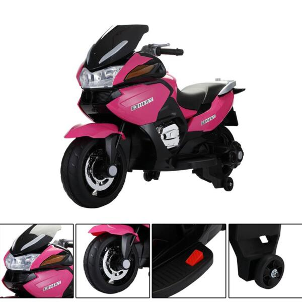 12V Ride On Children's Electric Motorcycle for Toddler 12v kids ride on motorcycle battery powered bike rose red 18