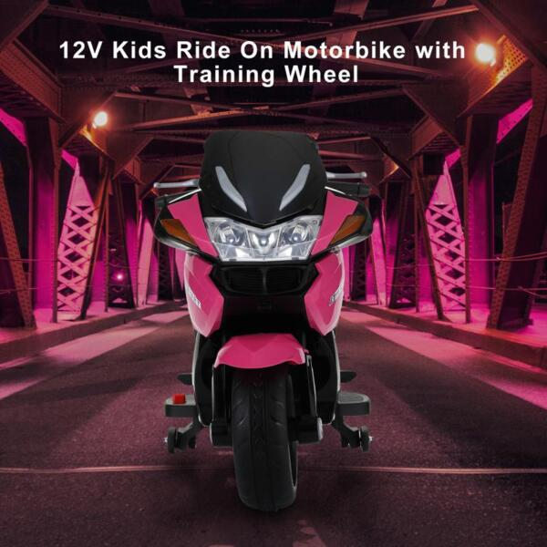 12V Ride On Children's Electric Motorcycle for Toddler 12v kids ride on motorcycle battery powered bike rose red 24 1