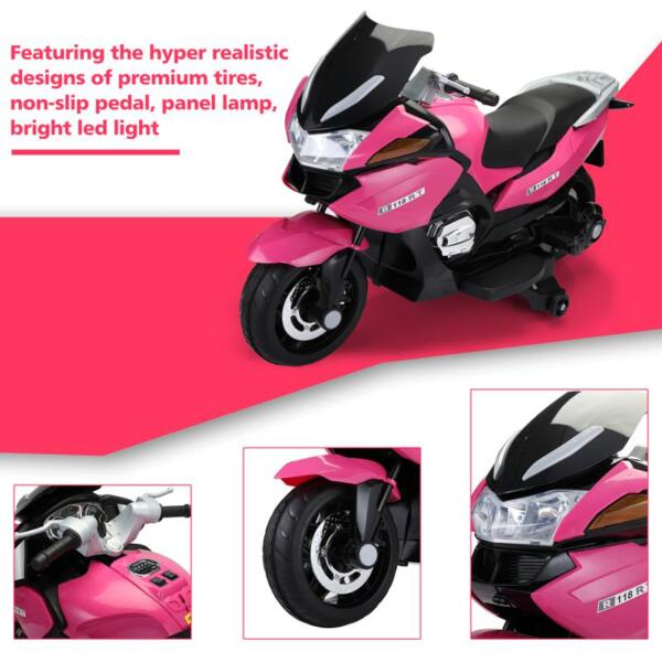 12V Ride On Children's Electric Motorcycle for Toddler 12v kids ride on motorcycle battery powered bike rose red 25 1