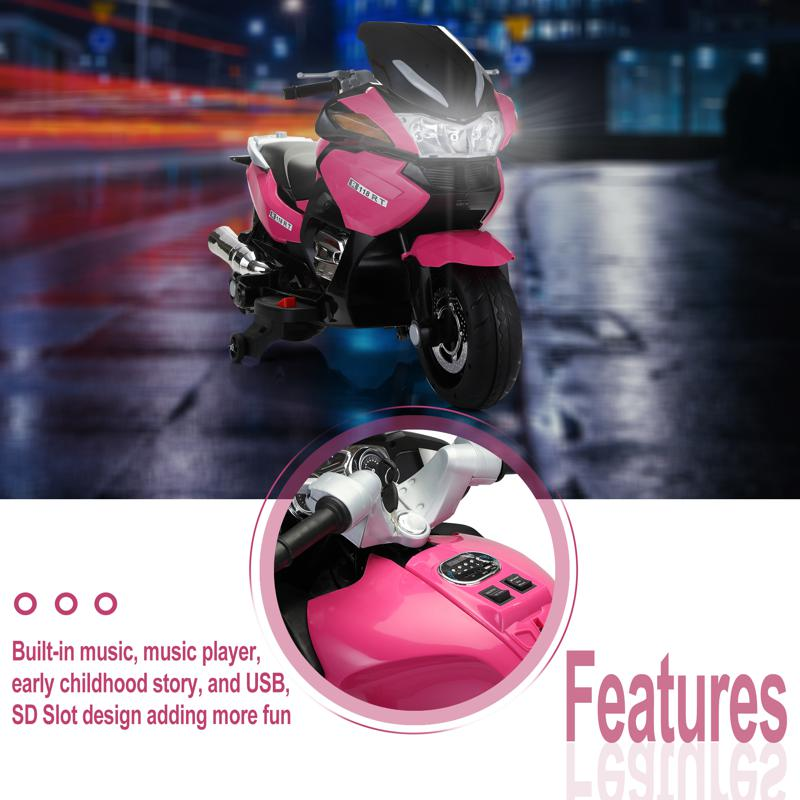 12V Ride On Children's Electric Motorcycle for Toddler 12v kids ride on motorcycle battery powered bike rose red 27 1