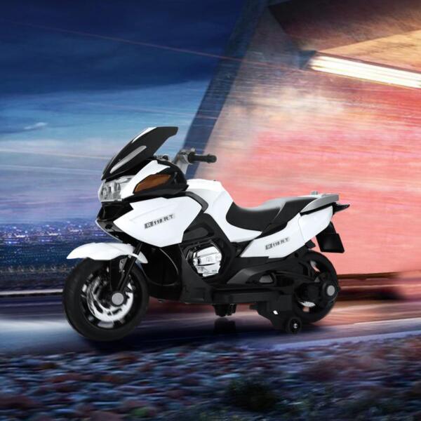 12V Kids Ride on Motorcycle Battery Powered Bike, White 12v kids ride on motorcycle battery powered bike white 16 1
