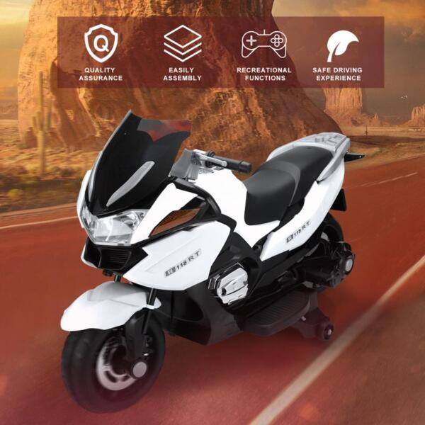 12V Kids Ride on Motorcycle Battery Powered Bike, White 12v kids ride on motorcycle battery powered bike white 17 1