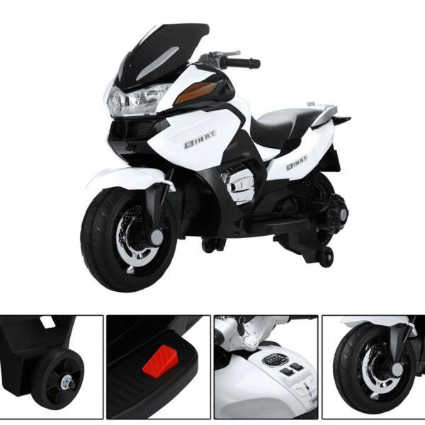 12V Kids Ride on Motorcycle Battery Powered Bike, White 12v kids ride on motorcycle battery powered bike white 18