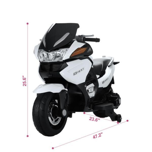 12V Kids Ride on Motorcycle Battery Powered Bike, White 12v kids ride on motorcycle battery powered bike white 19