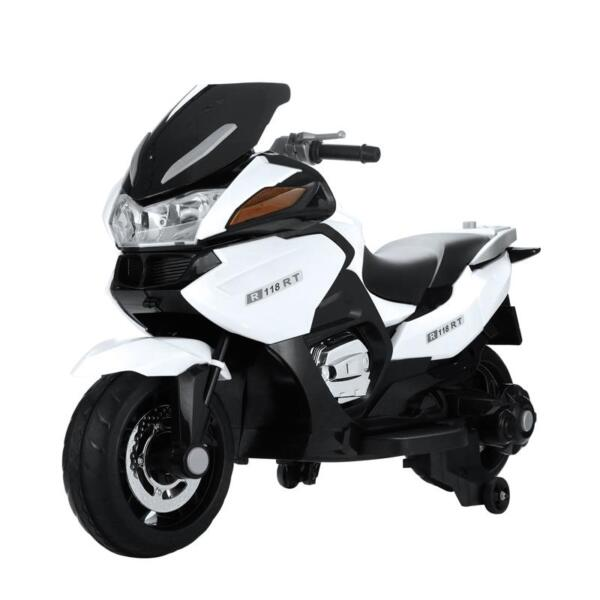 12V Kids Ride on Motorcycle Battery Powered Bike, White 12v kids ride on motorcycle battery powered bike white 2