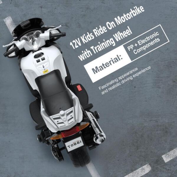 12V Kids Ride on Motorcycle Battery Powered Bike, White 12v kids ride on motorcycle battery powered bike white 23