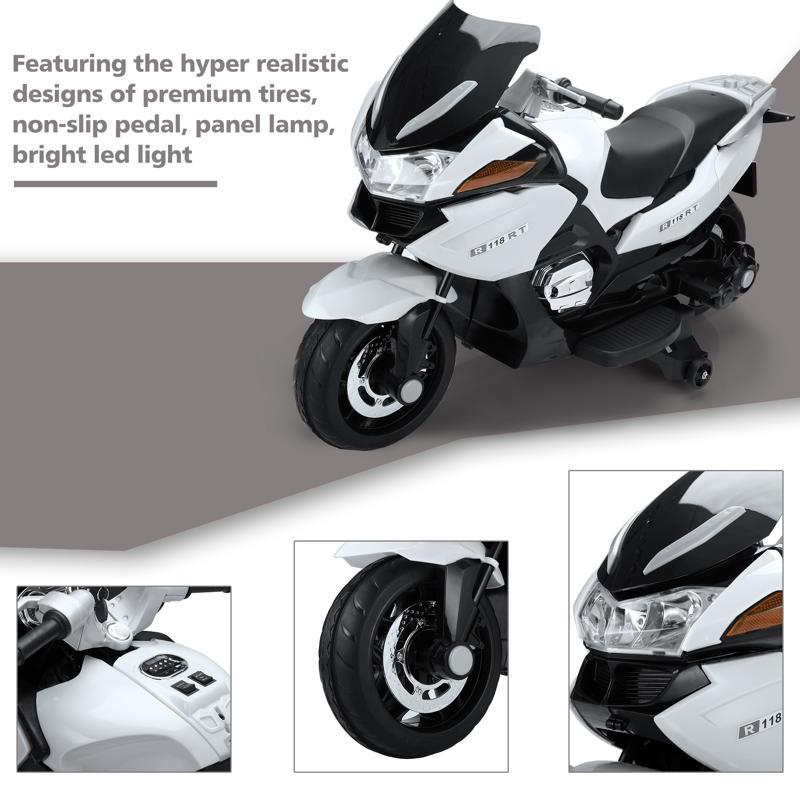 12V Large Kids Ride on Battery Powered Motorcycle 12v kids ride on motorcycle battery powered bike white 24 2