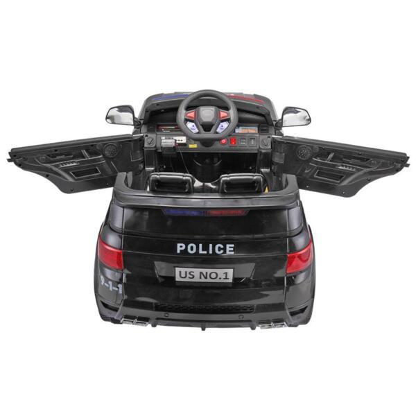 12V Kids Ride On Police Car, Black 12v kids ride on police car black 1