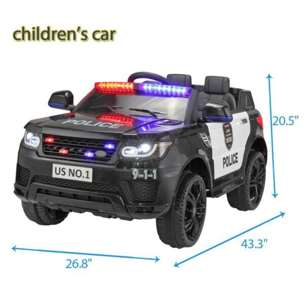 12V Kids Ride On Police Car, Black 12v kids ride on police car black 13