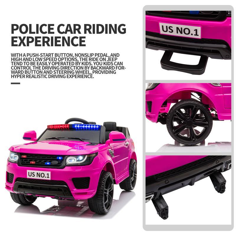 12V Kid's Police Car with Siren 12v kids ride on police car black 2 26 1