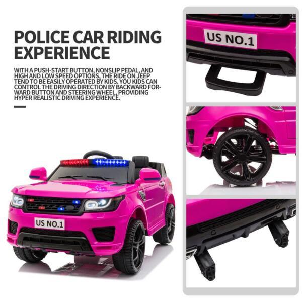 12V Kid's Police Car with Siren 12v kids ride on police car black 2 26